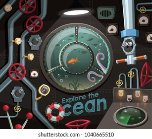 Explore the ocean , view under the sea from the submarine