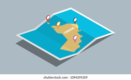 explore oman maps with isometric style and pin marker location tag on top vector illustration