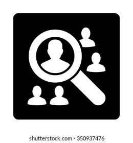 Explore Patients vector icon. Style is flat rounded square button, white and black colors, white background.