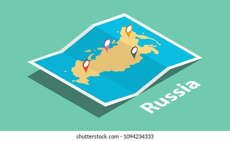 explore russia maps with isometric style and pin marker location tag on top vector illustration