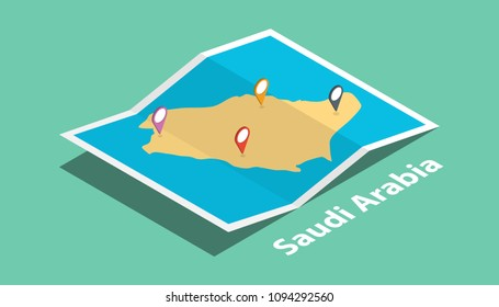 explore saudi arabia maps with isometric style and pin marker location tag on top vector illustration