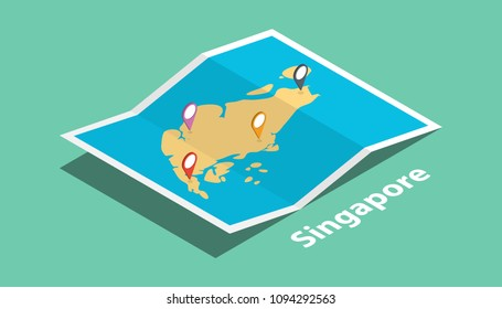 explore singapore maps with isometric style and pin marker location tag on top vector illustration