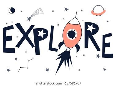 explore slogan illustration vector for print design.
