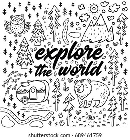 Camping Coloring Page Stock Illustrations Images Vectors