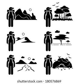 Explorer Adventure at Mountain Rainforest Desert Savanna River Cave Stick Figure Pictogram Icon