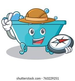 Explorer bathtub character cartoon style