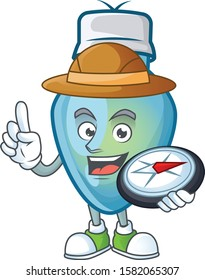 Explorer blue christmas bulb cartoon character holding a compass