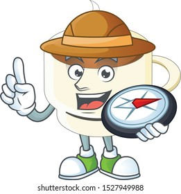 Explorer cup coffee the character with mascot
