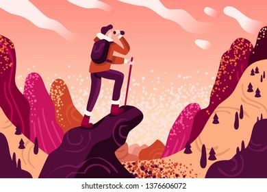 Explorer discovery, watch and explore touristic valley with traveller backpack. Flat color icons, creative illustrations, isometric infographic images, web banner vector