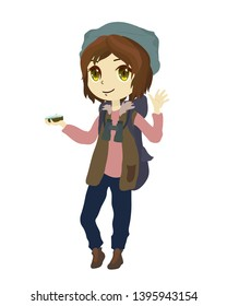 Explorer girl with compass waving. Anime cartoon character.