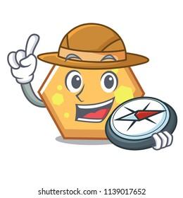 Explorer hexagon mascot cartoon style