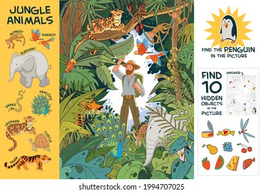 Explorer in Indian jungle stands among hidden animals. Find all animals in picture. Find 10 hidden objects in picture. Find Penguin. Puzzle Hidden Items. Funny cartoon character. Vector Set