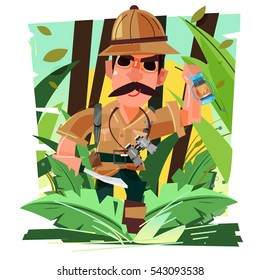 explorer walking in the jungle holding a knife and lantern. character design. exploration concept - vector illustration