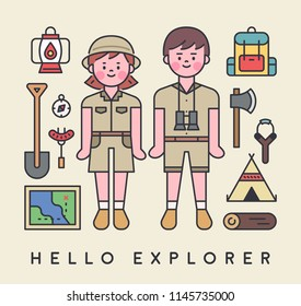 Explorers characters and exploration equipment icons. outline style flat design style vector graphic illustration set