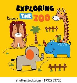 exploring the zoo funny animal cartoon