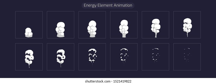 Explosion Animation Element FX. Sprite Sheet Explosion Effect for App, Video Game or Classic 2d Cartoon. Vector EPS 10 illustration.
