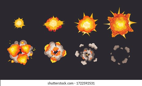 Explosion animation in storyboard. Energy detonating explosives with subsequent phases red explosion flash diverging waves smoke and vector attenuation cartoon.