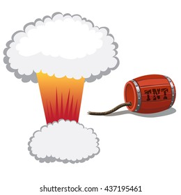 The explosion of a barrel of TNT. Vector.