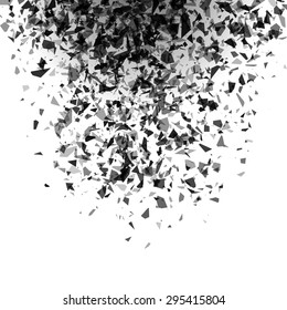 explosion of black pieces on white background. vector illustrati