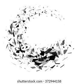 Explosion of black shards ring. Shatter vector design element