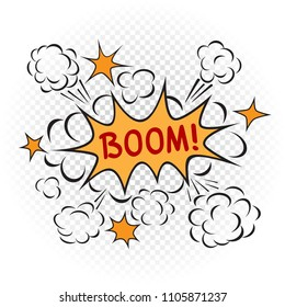 Explosion boom cartoon illustration on transparent white background. Comic book bang sign symbol