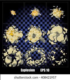 Explosion, cartoon explosion animation frames for game. Sprite sheet on dark background. Transparent background.