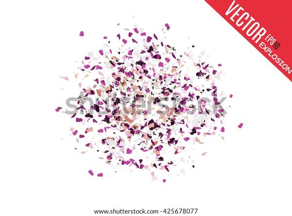 Explosion cloud of black pieces. Confetti. Vector illustration