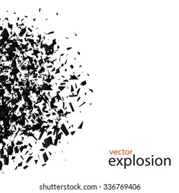 Explosion cloud of black pieces on white background. Vector illustration