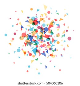 Explosion cloud a festively colored confetti. Carnival background, blast colored shapes.Vector illustration template web design for banner, poster or greeting card