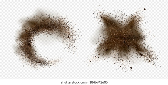 Explosion of coffee beans and powder. Vector realistic illustration of shredded roasted ground coffee and arabica grain pieces with splash of brown dust isolated on transparent background