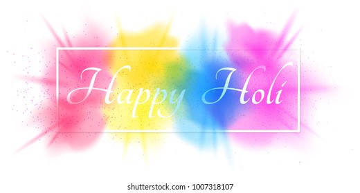 Explosion of colors. Multicolor spray. White banner frame with white text for Happy Holi. Holiday of colors. Colorful fog dust. Vector illustration