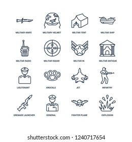 Explosion, fighter plane, General, Grenade Launcher, Infantry, Military Knife, Militar Radio, lieutenant, In outline vector icons from 16 set