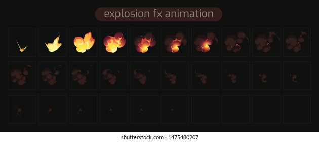 Explosion FX Animation. Bomb sprites for animation. Sprite sheet of fire explosion , the explosion, Animation for game or cartoon and VFX. Frame by frame animation -illustration- Vecto