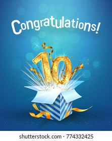 Explosion in the gift box flies the golden numbers. Ten years anniversary on blue background. Template tenth birthday celebration vector Illustration