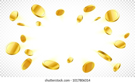 Explosion of gold coins with place for text on transpaternt background, vector illustration
