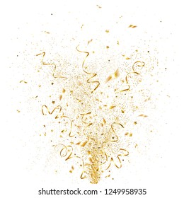 explosion of golden confetti on a white background
