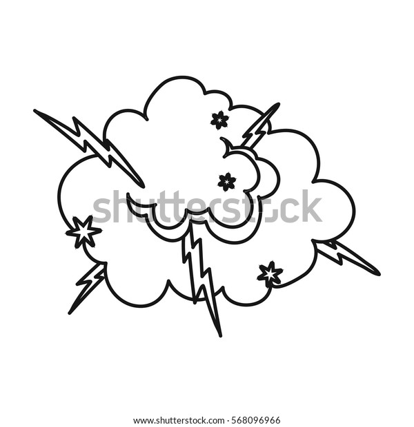 Explosion icon in outline style isolated on white background. Explosions symbol stock vector illustration.