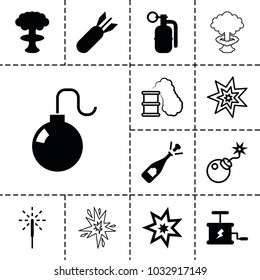 Explosion icons. set of 13 editable filled and outline explosion icons such as opened champagne, sparkler, rocket bomb, dynamite, bomb, smoking can
