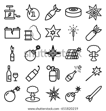 Explosion Icons Set Set 25 Explosion Stock Vector Royalty Free