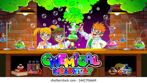 Explosion in the laboratory. Pupils in the chemistry class. School kids in chemistry lab. Children in science laboratory make test. Cartoon pupils girls and boys in class. Vector illustration. School