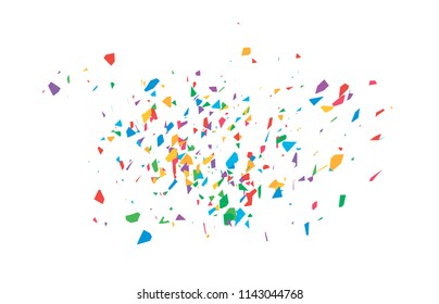 The explosion of multi-colored fragments. Vector colorful pieces of shards of confetti.