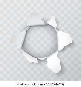 Explosion paper hole on the Transparent background. Vector illustration
