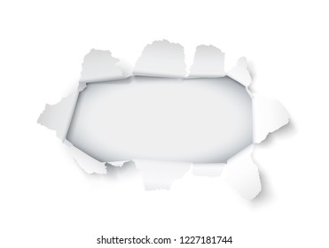 Explosion paper hole on the white background. Vector illustration