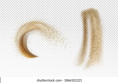 Explosion and pour of gold sand, falling dust with glitter particles isolated on transparent background. Vector realistic set of yellow sand powder splashes and clouds. Motion effect of shimmer flows