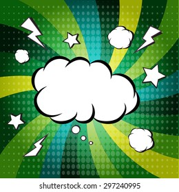 Explosion steam bubble pop-art vector - funny funky banner comics background. this also represents a big bang, thunder, emphatic explosion, roaring voice, scream, booming vehicle, big sound