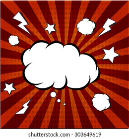 Explosion steam bubble pop-art vector - funny funky banner comics background. This also represents a big bang, thunder