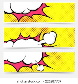 Explosion steam bubble pop-art web header set - funny funky banner comics background. Vector illustration
