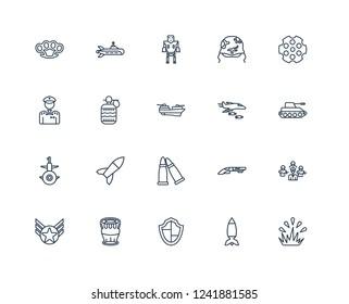 Explosion, Tank, Chamber, Military Helmet, Militar In, Submarine, Shotgun, General outline vector icons from 20 set