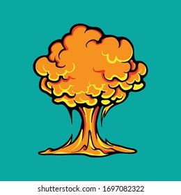Explosion vector concept. Nuclear test, atomic bomb cloud. Mushroom cloud. Radiation and dangerous effect. War weapon illustration