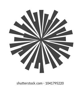 Explosion vector illustration. Rays element. Sunburst, starburst shape on white. Radial lines. Abstract circular geometric shape. Sun ray or star burst light element.